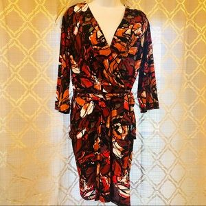 Just Taylor Faux wrap abstract print dress size 14